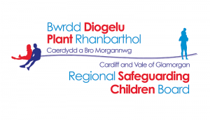 A bilingual Cardiff and Vale Regional Safeguarding board logo.